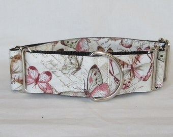 Butterfly Postcard Martingale Dog Collar - 1.5 or 2 Inch -butterflies pink cream cursive words lovely