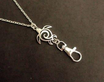 Turtle Lanyard Silver, ID Badge Holder Necklace Turtle, Boho Silver Beach Lanyard Simple Ocean Lanyard, Silver Lanyard Nature Gift