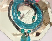 CRAZY SALE:  Ashira Natural Labradorite and Apatite Stones with Blue Peruvian Opal Pendant and Sterling Silver clasp