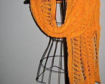 Orange knitted lace wrap in merino, cashmere, Angora