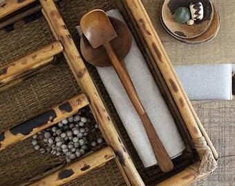 Vintage Bamboo Rattan Organizer, Bamboo Silverware Organizer, Desk Organizer