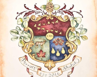 "Create your own Original Family Crest / Coat of Arms - 11"" by 14""  First Anniversary Gift - paper"