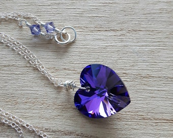 Swarovski Crystal - Sterling Silver Necklace - Swarovski Crystal Heart Necklace - Heart Pendant - Swarovski Pendant - Bridesmaid Gift