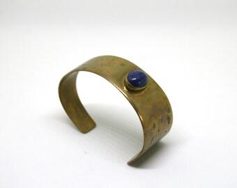 Lapis Lazuli Brass Cuff Bracelet