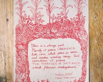 Defiant Potato - Terry Pratchett quote - silk screen print - limited run!