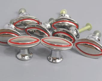 8 Vintage Drawer Knobs Chrome & Red Pin Stripe Kitchen Mid Century Renovation Hardware Supply
