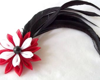 Black Feather Fascinator with Red and White Organza Flower Tsumami Kanzashi