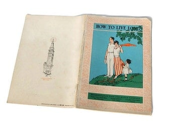 How To Live Long Antique Book Metropolitan Life Insurance Company 1916 Publication Pamphlet 14 Rules of Health, Air Food Habits Lithographs