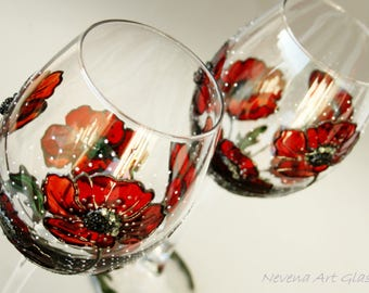 Wine Glasses, Poppy Glasses, Painted Wine Glasses,Red Wedding Glasses, Anniversary Glasses, Set of 2