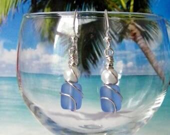 Cornflower blue tumbled glass white pearl silver wire wrapped earrings, beach earrings