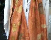 raw SILK eco print scarf overlaid with madder 15 x 72 reserved