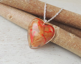 SALE: Red Pencil Shavings Pendant, Recycled Shavings in Resin Heart Necklace, Resin Jewellery, Heart Jewellery, Upcycled, Quirky, UK, 181