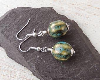 Green Earrings, Blue & Green Ceramic Bead Earrings, Silver Plated, Boho Chic, Bead Jewellery, Green Jewellery, Blue Jewellery, UK, 802a