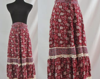 Vintage Seventies Skirt - 1970s Floral Boho Skirt - 70s Maroon Hippie Skirt - High Waist Cotton Peasant Skirt - XS Vintage Summer Skirt