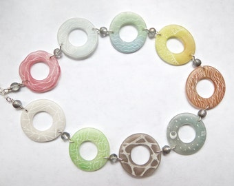 Circles of Nature Necklace- sterling silver and shrink plastic