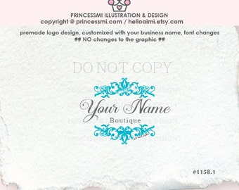 1158-1 Custom logo Premade Damask Logo Design  Scrolls logo photography logo shop logo business watermark