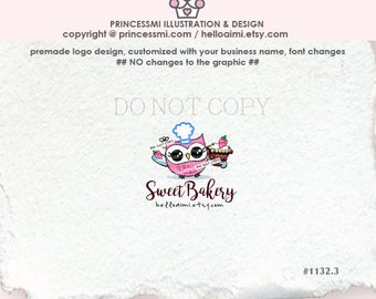 1132-3  OWL bakery logo, cupcake logo design , owl and cupcake logo design, cooking, home kitchen logo, blogger logo, watermark design
