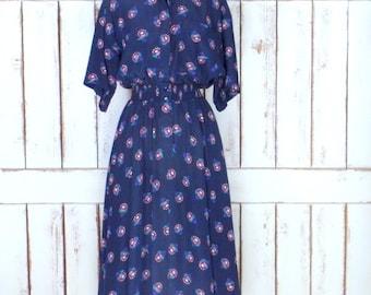 Vintage Liz Claiborne long blue floral short sleeve day dress/stretch waist dress/6
