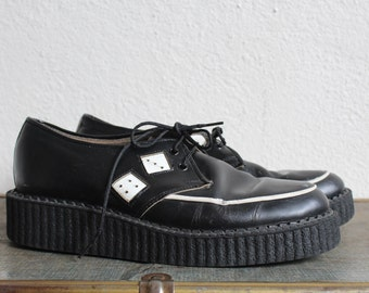VTG 1990s Black Leather Dice Creepers by TUX
