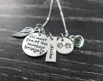 Pet Memorial Jewelry / Charm Necklace / I'll meet you at the rainbow bridge / Pet Memorial Jewelry / Loss of Pet