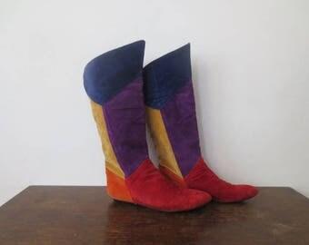 Vintage '80s/'90s WILD PAIR Bold Suede Colorblock Knee High Boots, US Women's Sz 8.5