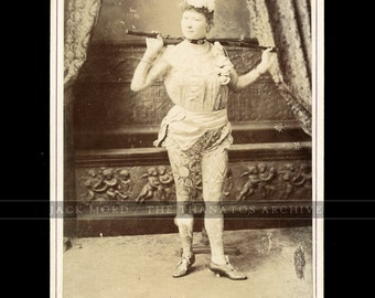 Vintage 1880s Tattooed Woman Cabinet Card Photo Signed <> Body Art & Tattoo Int