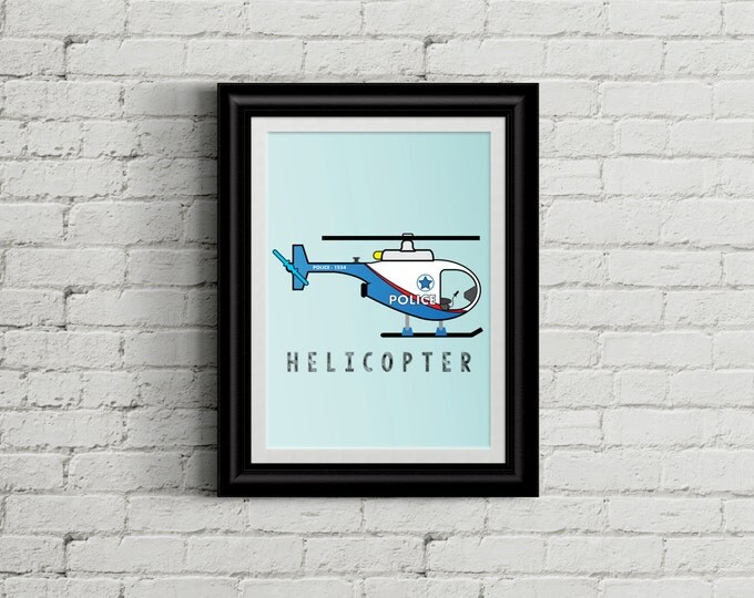 Modern Police Helicopter Kid's Bedroom Wall Art - Police Boys Room Decor - Helicopter Room Decor - Rescue Vehicle Nursery Decor