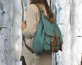 Handmade backpack -purse in turquoise canvas with leather details, named Diane , MADE TO ORDER