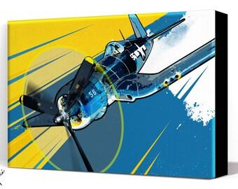 Airplane - F4U Corsair - Canvas Art Print, Airplane Decor, WWII vintage airplane, Air Force, Military Gift, Aviation, Pilot gift, Pop Art
