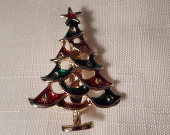 CHRISTMAS TREE BROOCH / Pin / Enamel / Gold / Tannenbaum / Holidays / Seasonal / Mid-Century Modern / Retro / Chic / Collectible / Accessory