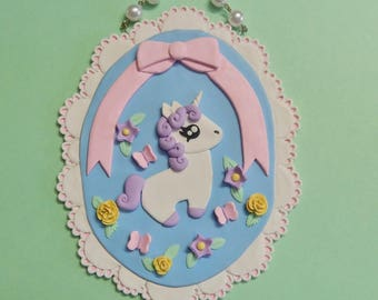 Pastel Sweet Unicorn Chibi plaque wall hanging OOAK one of a Kind