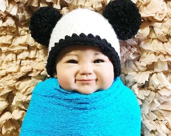 Newborn PANDA Hat - Crochet - White and Black - Reborn Doll Hat - Photo Prop