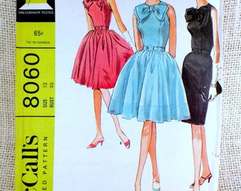 Vintage Pattern 1950s McCall's 8060 Bust 32 Dress Rockabilly party Sewing 1950s 1960s full skirt dress Full skirt Bow wiggle mad men