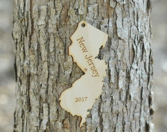 Natural Wood New Jersey State Ornament WITH 2017