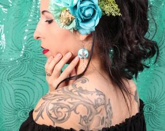 Mermaid Blues Double Rose & Carnation with Seashells, Starfish, and Seaweed Leaves  Hair Flower Fascinator Clip