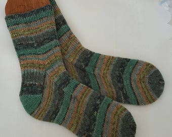 Socks - Hand Knitted Wool Socks-  Mens or Womens Socks - Handmade UK 5-7 US 7-9  Striped Socks - Gifts for Her - Gifts for Him