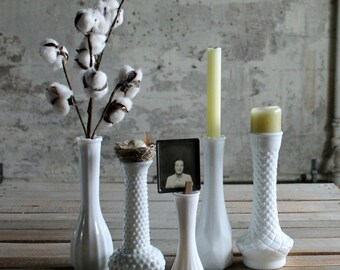 5 Vintage Milk Glass Vases / Candle Holders - No. 1