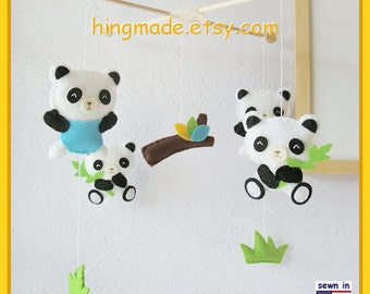 Baby Crib Mobile, Panda Mobile, Bear Mobile, Children Decor, Cute Giant Pandas with Bamboos design, Custom Mobile