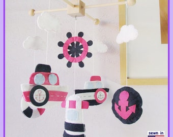 Baby Mobile, Nautical Mobile, Mariner Mobile, Ship Mobile, Baby Girl Mobile, Navy Blue Pink White, Match Bedding Mobile