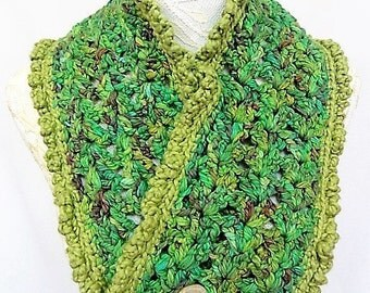 shades of green cotton button cowl
