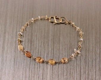 Imperial Topaz Japanese Saltwater Keshi Pearl Bracelet, Keishi, Gold Filled, Argenitum, November June Birthstone, Yellow White, Rosary