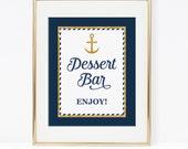 Nautical Dessert Bar Sign, Nautical Anchor Babu Shower Dessert Table Sign, Navy & Gold Glitter, 2 Sizes, DIY, INSTANT DOWNLOAD