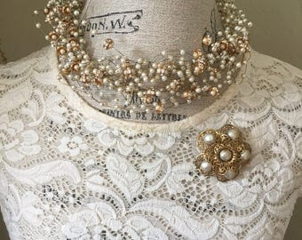 Statement Necklace Wire Pearl Rhinestone Choker, Estate Costume Jewelry