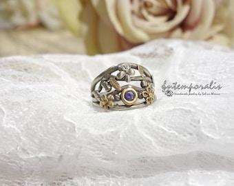 Bicolore bronze and purple cubic zirconium ring, french size 52, OOAK, SABA27