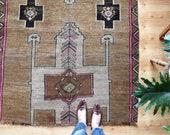 "vintage Turkish rug, rustic faded geometric rug, happy worn bohemian earthy rug, 8'1""x 4'3"""