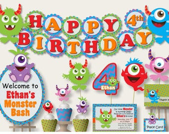 Little Monster 1st Birthday Party Decorations -Birthday Invitation, Birthday Banner or Baby Shower