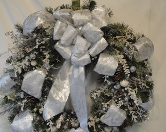 Winter White Silver wreath frosted winter home decor