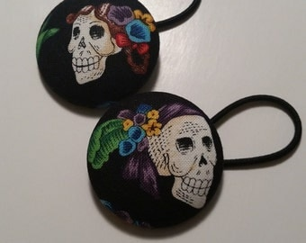 2 Large Fabric Skully Buttons