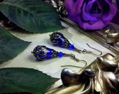 Royal Dark Blue Silver Steampunk Victorian Earrings, Sapphire Cobalt Blue Gothic Drops, Edwardian Bridal Dangles, Titanic Temptations 13027