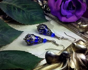 Dark Royal Blue Silver Drop Bridal Earrings, Victorian Steampunk, Sapphire Cobalt Gunmetal Edwardian Teardrops, Titanic Temptations 13027